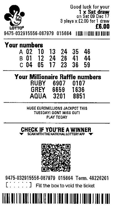 UK Lotto ticket del sorteo ganador